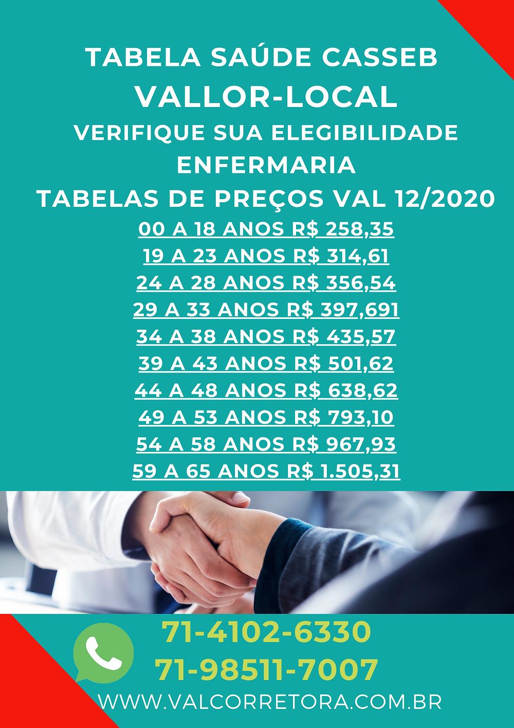 Tabelas Saude Casseb   Vallor   Adesão Salvador