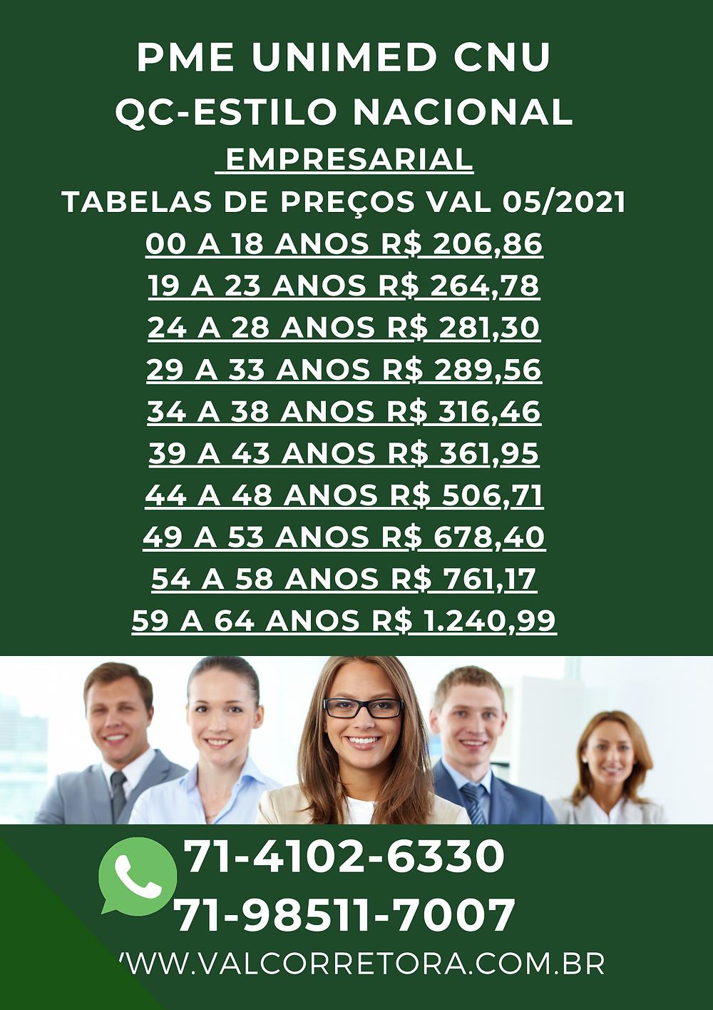 Tabelas de preços Planos de Saude Unimed Empresarial
