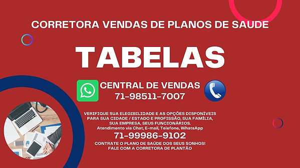 TABELAS DE VALORES PLANOS DE SAUDE