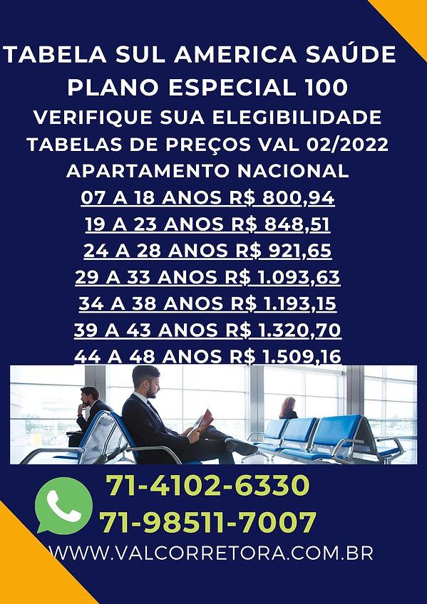 SUL AMERICA SAUDE ESPECIAL 100, planos de saude tabelas de preços