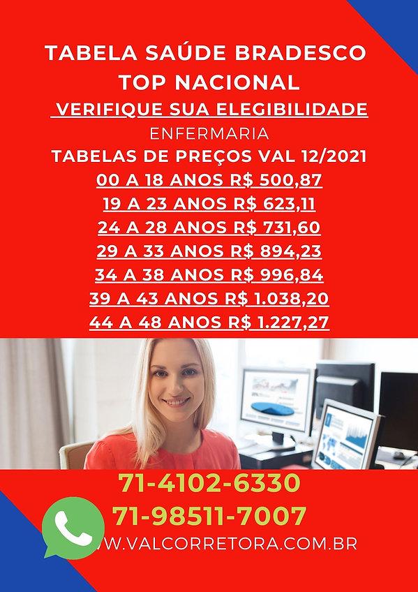 SAUDE BRADESCO TOP ENFERMARIA, planos de saude tabelas de preços