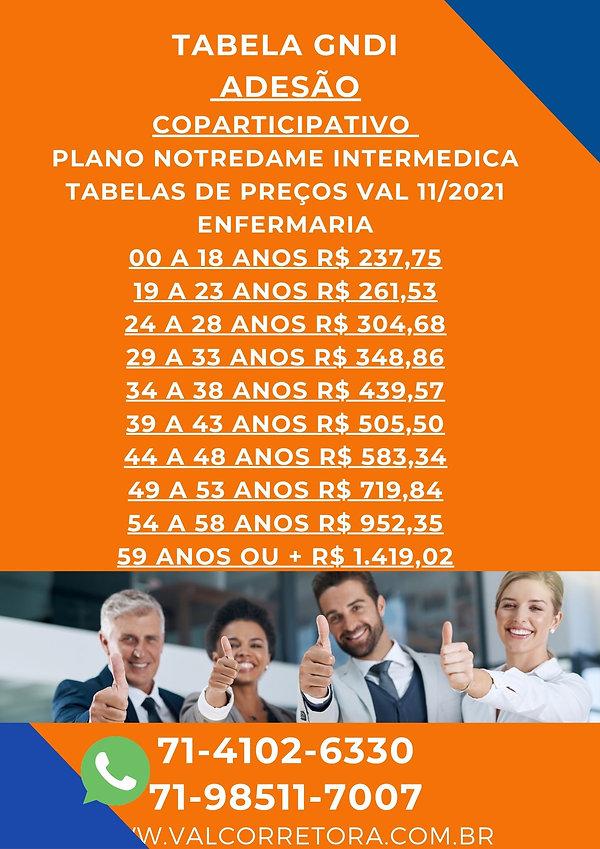 GNDI ADESÃO TABELAS DE PREÇOS PLANO DE SAUDE INTERMEDICA