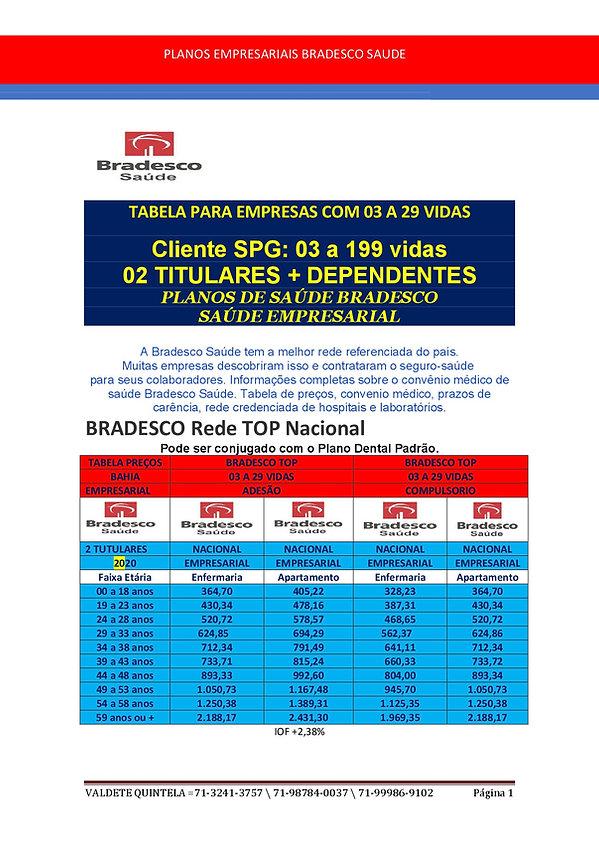 SPG 2 BRADESCO SAUDE TABELAS PARA EMPRES