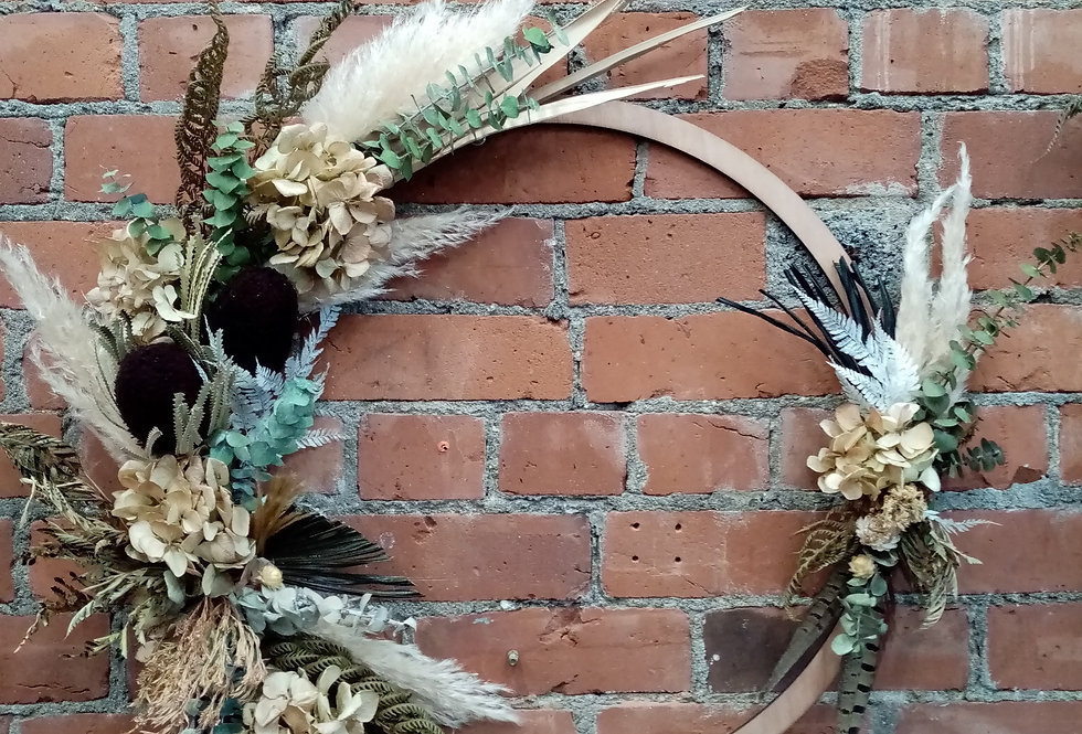 Dried Flora Wreath - Wood Ring