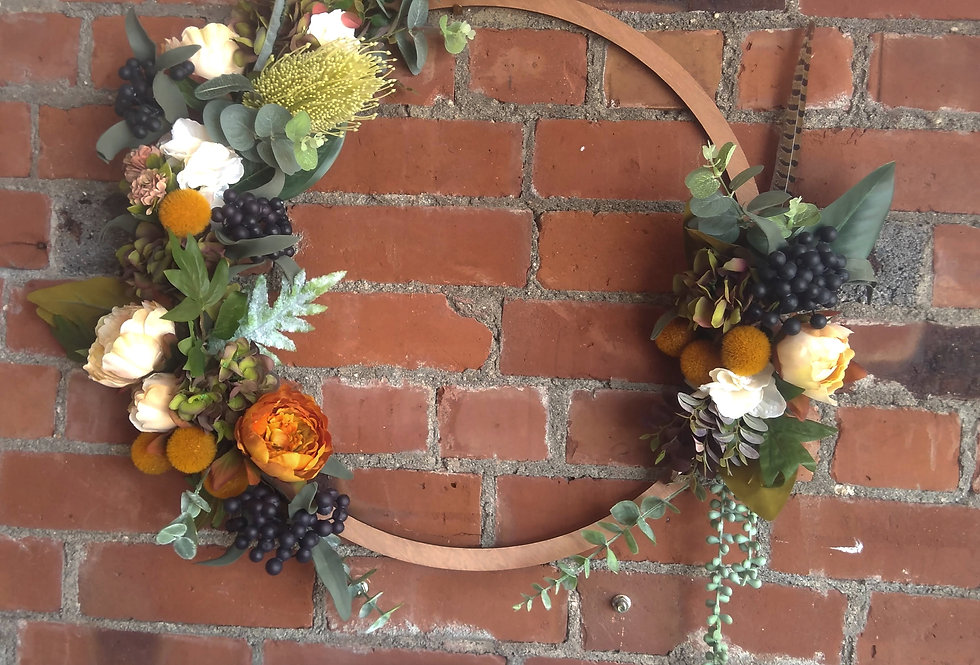 Faux Flora Wreath - Wood Ring