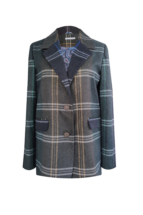 Green Plaid Wool Jacket