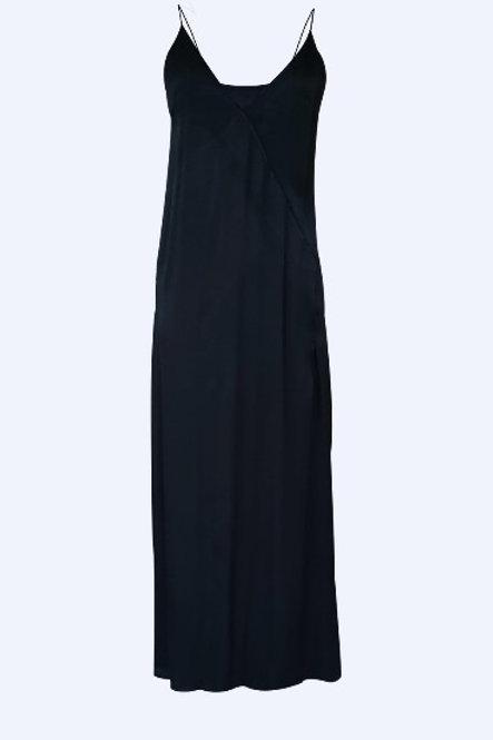 Navy Blue Silk Satin Dress