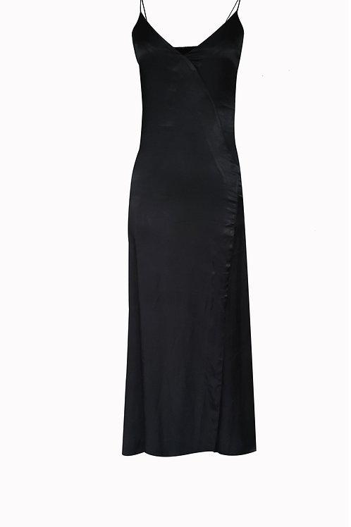 Black Silk Satin Dress