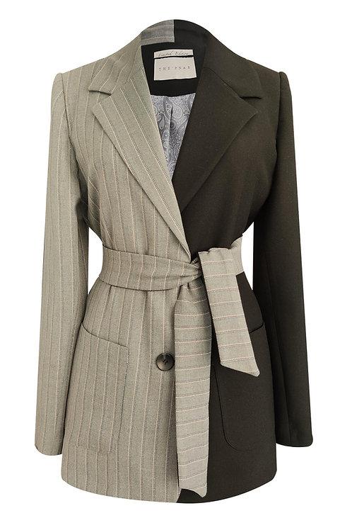 Black Grey Patchwork Blazer