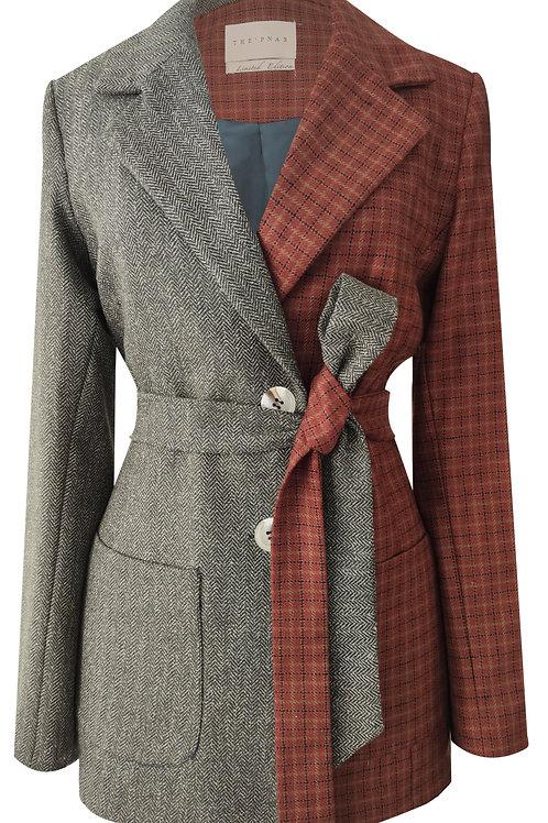 Mini Plaid With Herringbone Blazer Jacket
