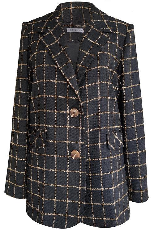 Oversize Square Pattern Blazer Ceket
