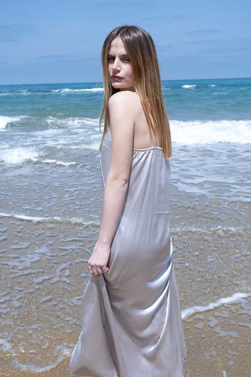 Silver Maxi Satin Dress
