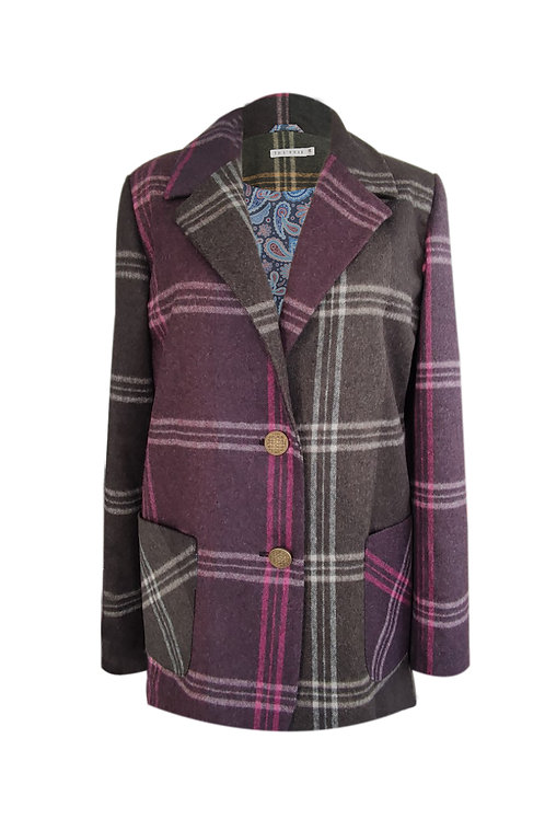 Pink Plaid Wool Blazer Jacket