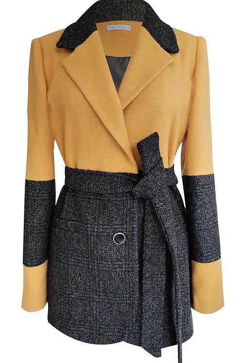 Patchwork Yellow  Wool Blazer Jacket