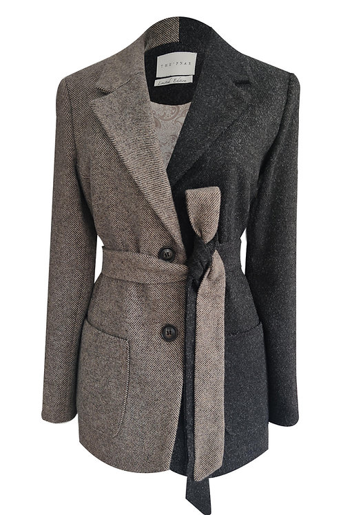 Brown Mini Stripe Blazer Jacket