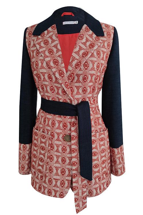 Patchwork Design Dark Blue Blazer jacket