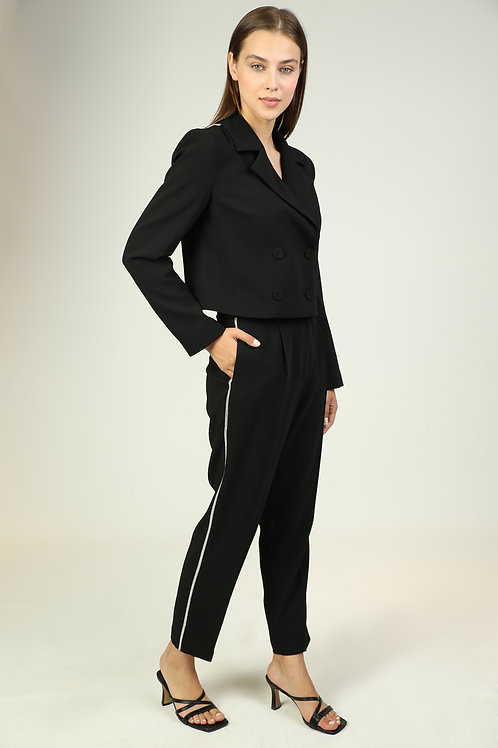 siyah şerit detaylı krep pantolon