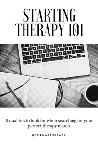 computer, notebook and pen for those searching for a therapist to address mental health issues