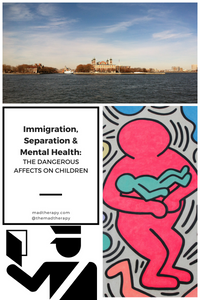 top is photo of Ellis Island where immigrants are welcome, side photo represents a parent holding their child close, and bottom is an immigration officer