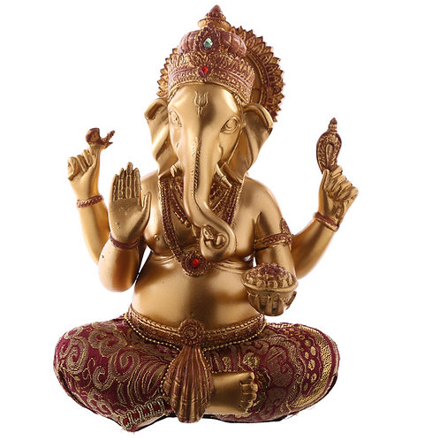 Decorative Ganesh Figurine - Gold and Red  Front View