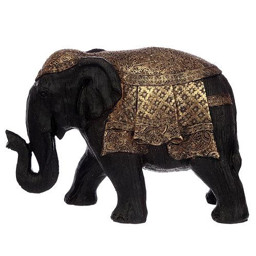 Decorative Thai Brushed Black and Gold Large Elephant