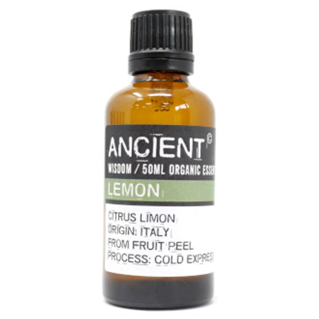 Lemon Organic Essential Oil 50ml View of Bottle and Label