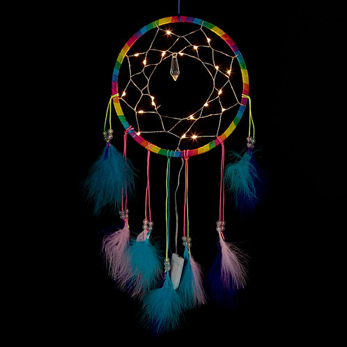 Decorative LED Rainbow Dreamcatcher LED On