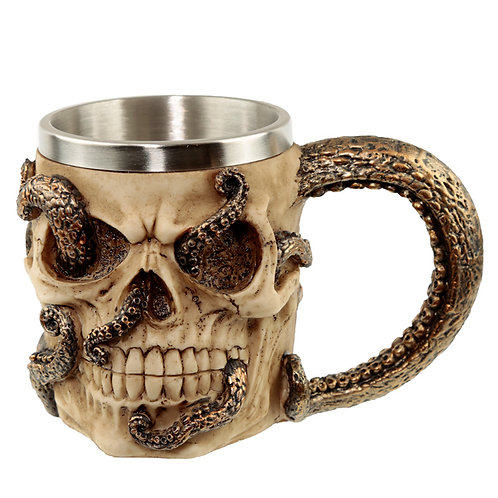 Collectable Decorative Bronze Octopus Skull Tankard
