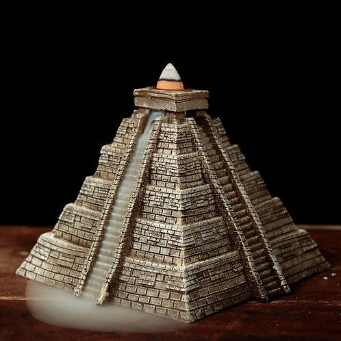 Aztec Pyramid Backflow Incense Burner SHowing Backflow Effect