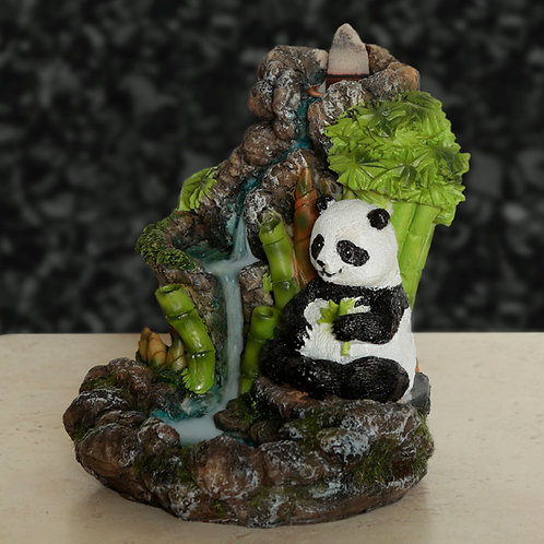 Backflow Incense Burner - Panda Bamboo Waterfall View From Front Left