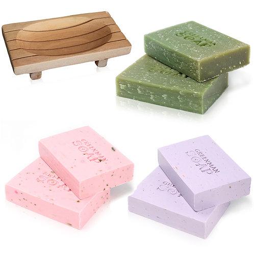 Greenman Soap Set - 3 soaps Lemon & Basil Lavender & Geranium Rose and Ylang Ylang Mahogany Soap Dish