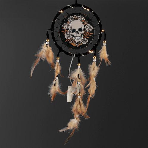 Skulls & Roses Design Dreamcatcher Black Background