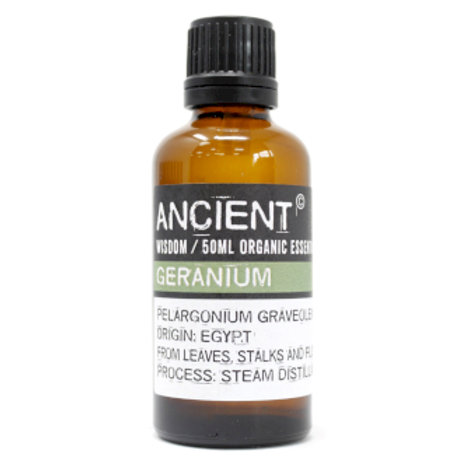 Geranium Organic Essential Oil 50ml View of Bottle