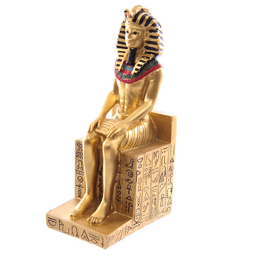 Decorative Gold Egyptian Seated Ramases Figurine Front Left