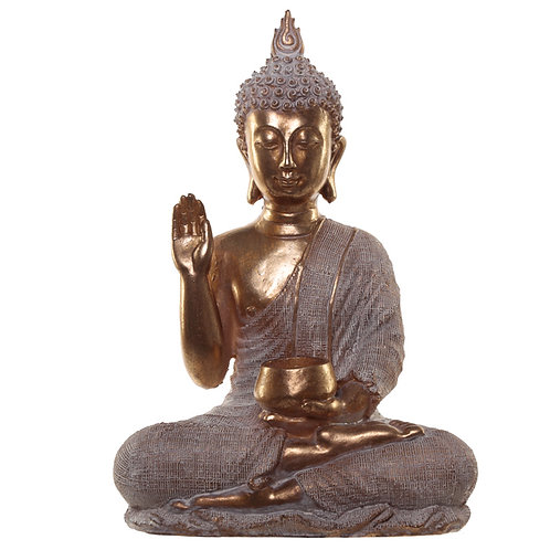 Thai Buddha Figurine With Begging Bowl Front View