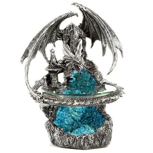 Silver Fortress Dark Legends Dragon Oil Burner with Glass Dish