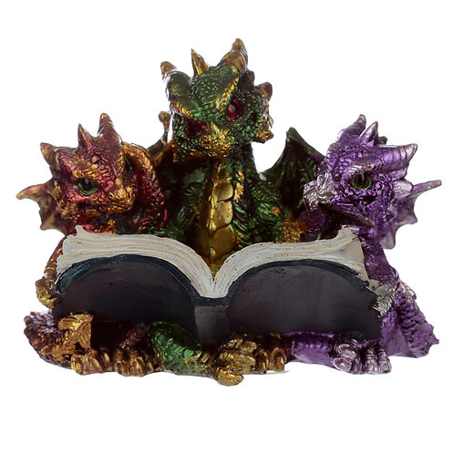 Elements Triple Cute Baby Dragons Reading Figurine Front View