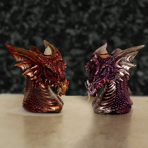 Backflow Incense Burner - Dragons Head - Designs in Red and Purple