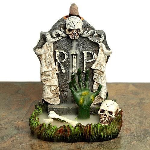 Backflow Incense Burner - RIP Zombie Hand Tombstone