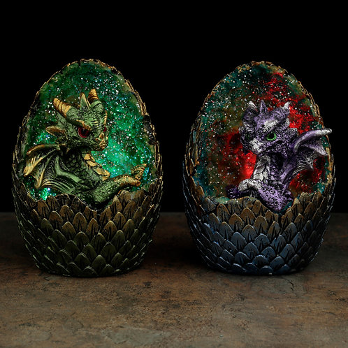 Two Elements Baby Dragon LED Crystal Eggs Together