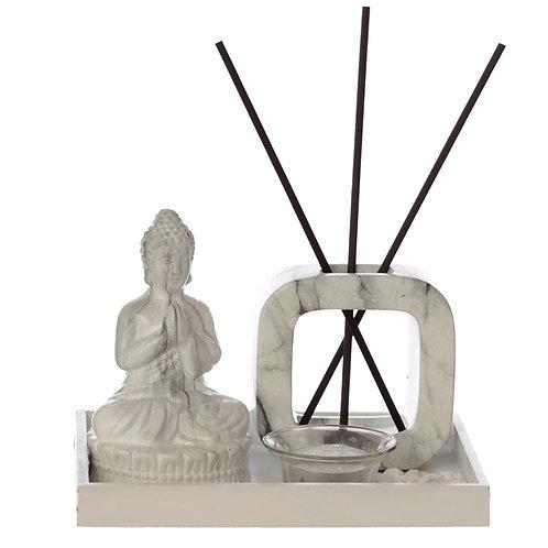 Eden Aroma Set Meditating Buddha Tea Light Holder & Reed Holder White
