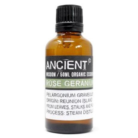 Rose Geranium Organic Essential Oil 50ml Bottle Front View
