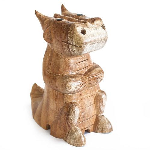 Wooden Carved Incense Burners - Lrg Dragon