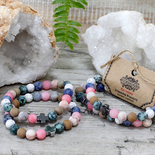 Set of 2 Friendship Bracelets - Harmony - Rainbow Gemstones