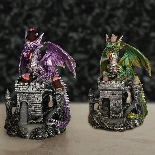 Backflow Incense Burner - Dragons Castle Green and Purple