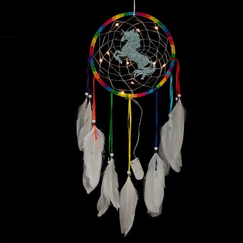 Decorative LED Rainbow Unicorn Dreamcatcher Dark Background