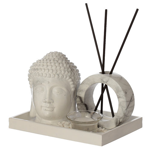Eden Aroma Set - Buddha Head Tea Light Holder & Reed Holder White Marble Side View