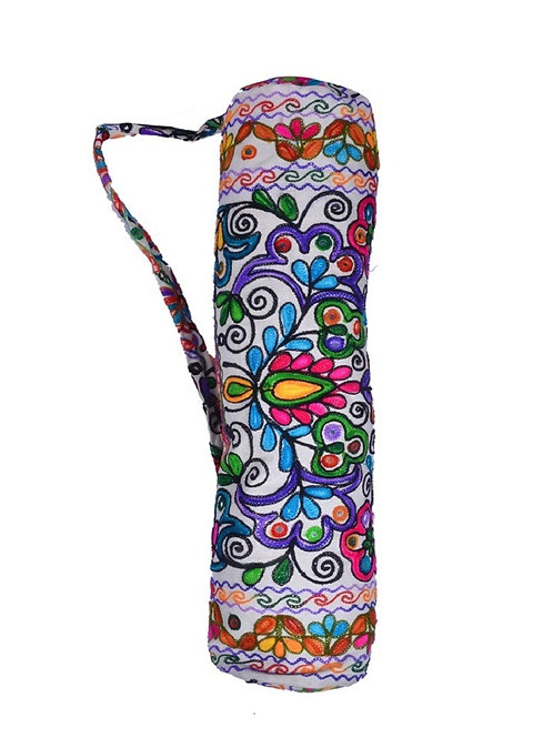 Floral stitched exercise mat bag