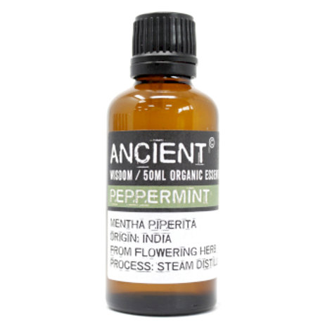 Peppermint Organic Essential Oil 50ml View of Bottle and Label