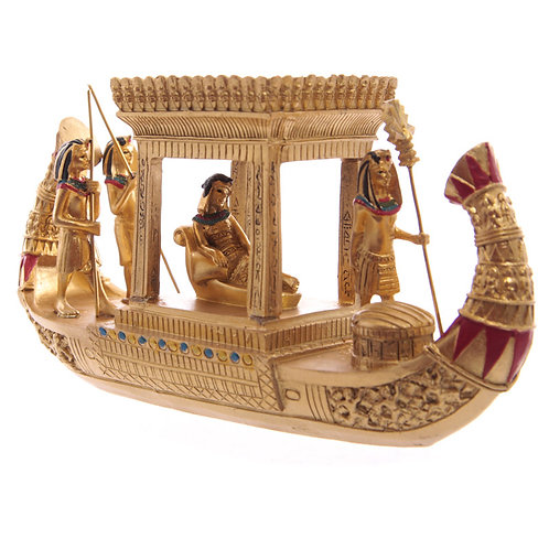 Decorative Gold Egyptian Canopy Boat Front Right View